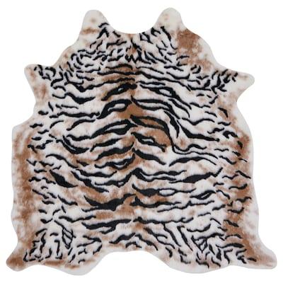 GRENSTEN Vloerkleed, tijger beige/bruin, 139x146 cm