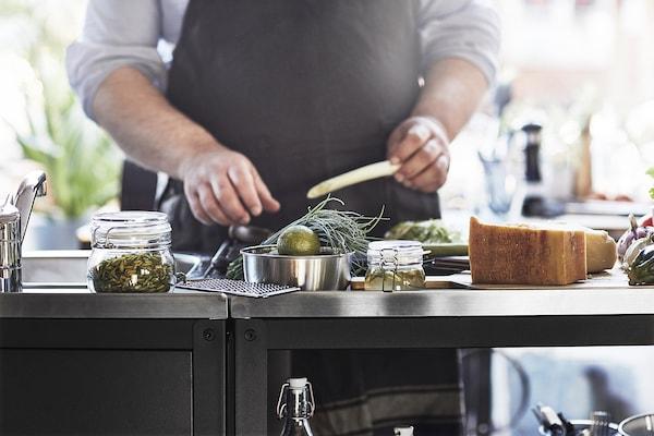GRILLSKÄR Open kast keukeneiland, zwart/roestvrij staal buiten, 86x61 cm