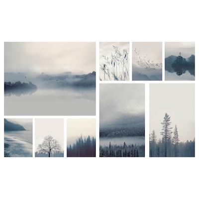GRÖNBY Afbeelding zonder lijst, set van 9, blauw landschap, 179x112 cm