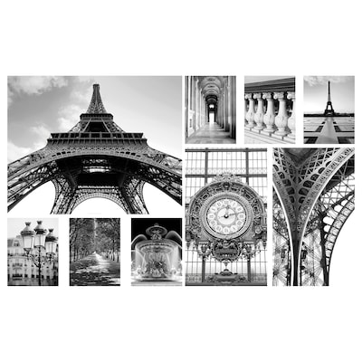 GRÖNBY Afbeelding zonder lijst, set van 9, Een dag in Parijs, 179x112 cm