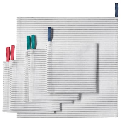 GRUPPERA Servet, wit/zwart, 33x33 cm