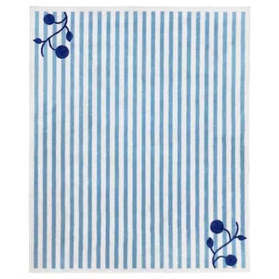 GULSPARV Vloerkleed, gestreept blauw/wit, 133x160 cm
