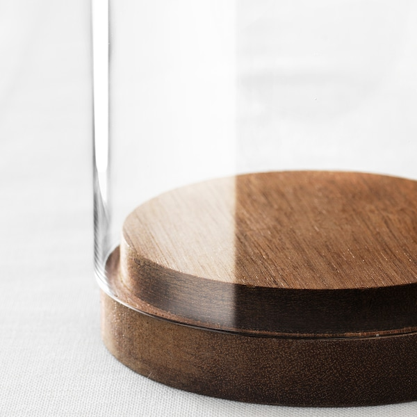HÄRLIGA Glazen stolp met schotel, helder glas, 20 cm