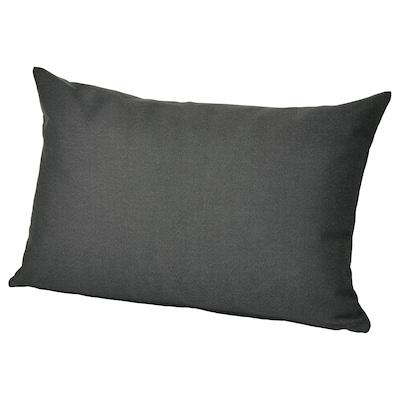 HÅLLÖ Rugkussen, buiten, zwart, 62x42 cm