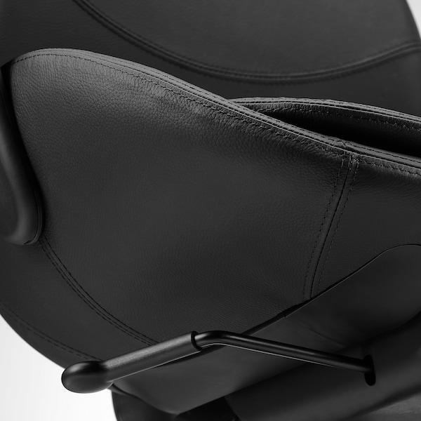 HATTEFJÄLL Bureaustoel met armleuningen, Smidig zwart/zwart