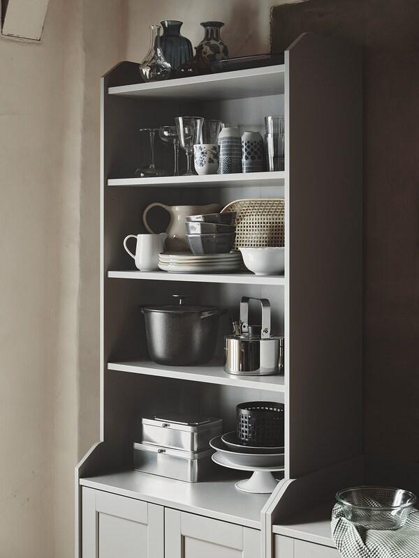 HAUGA Hoge kast met 2 deuren, grijs, 70x199 cm