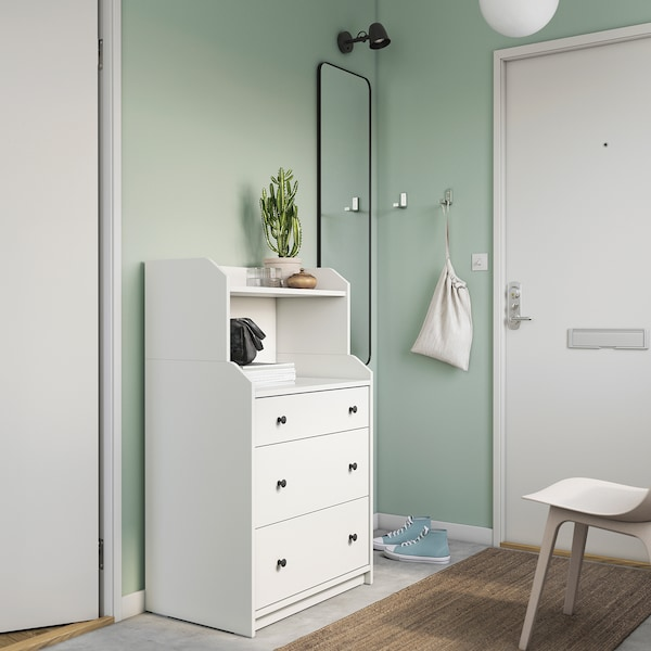 HAUGA Ladekast met 3 lades en plank, wit, 70x116 cm
