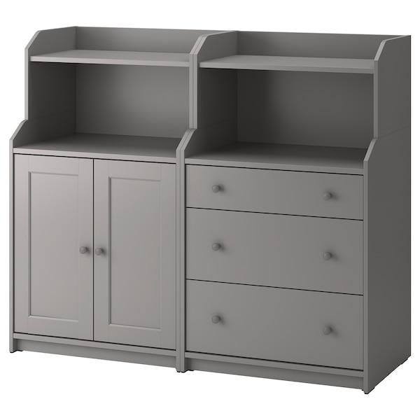 HAUGA Opbergcombinatie, grijs, 139x46x116 cm