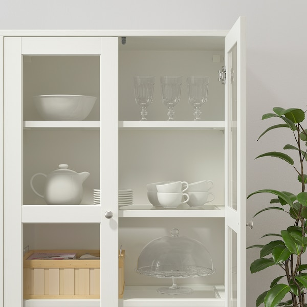 HAVSTA Opbergcombinatie met glazen deuren, wit, 162x37x134 cm