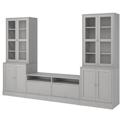 HAVSTA Tv-opbergcombi/vitrinedeuren, grijs, 322x47x212 cm