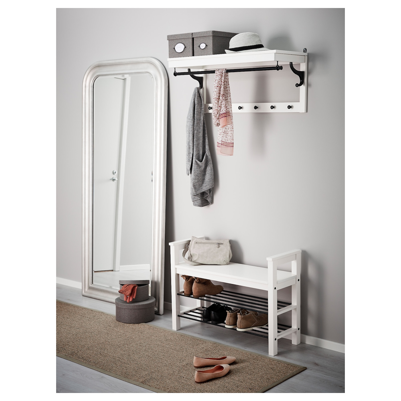 hemnes bank met schoenenrek wit 85x32 cm ikea. Black Bedroom Furniture Sets. Home Design Ideas