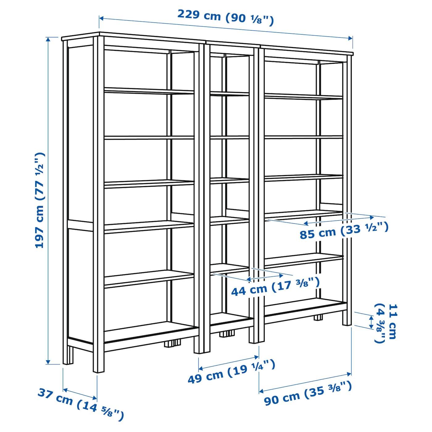 HEMNES Boekenkast Witgebeitst 229x197 cm - IKEA