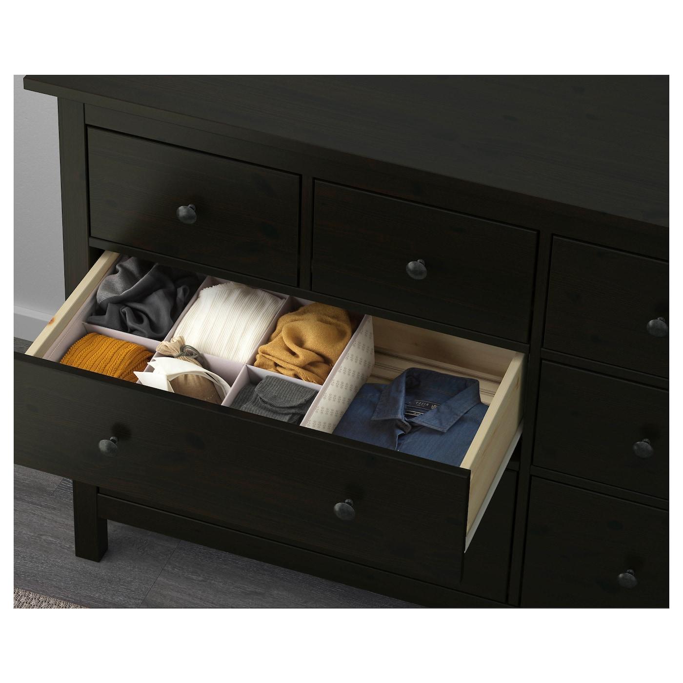 Hemnes Dressoir Zwart Bruin.Hemnes Ladekast 8 Lades Zwartbruin 160 X 96 Cm Ikea