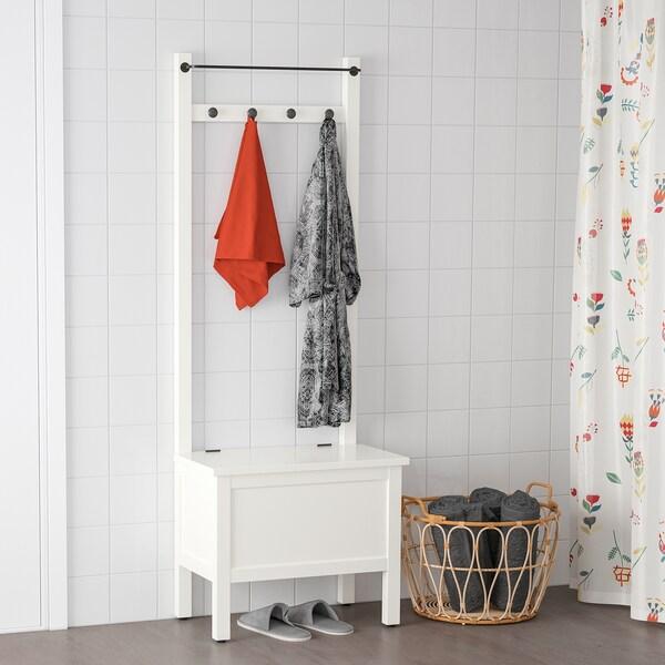 HEMNES Opbergbank&handdoekenstang/4 haken, wit, 64x37x173 cm