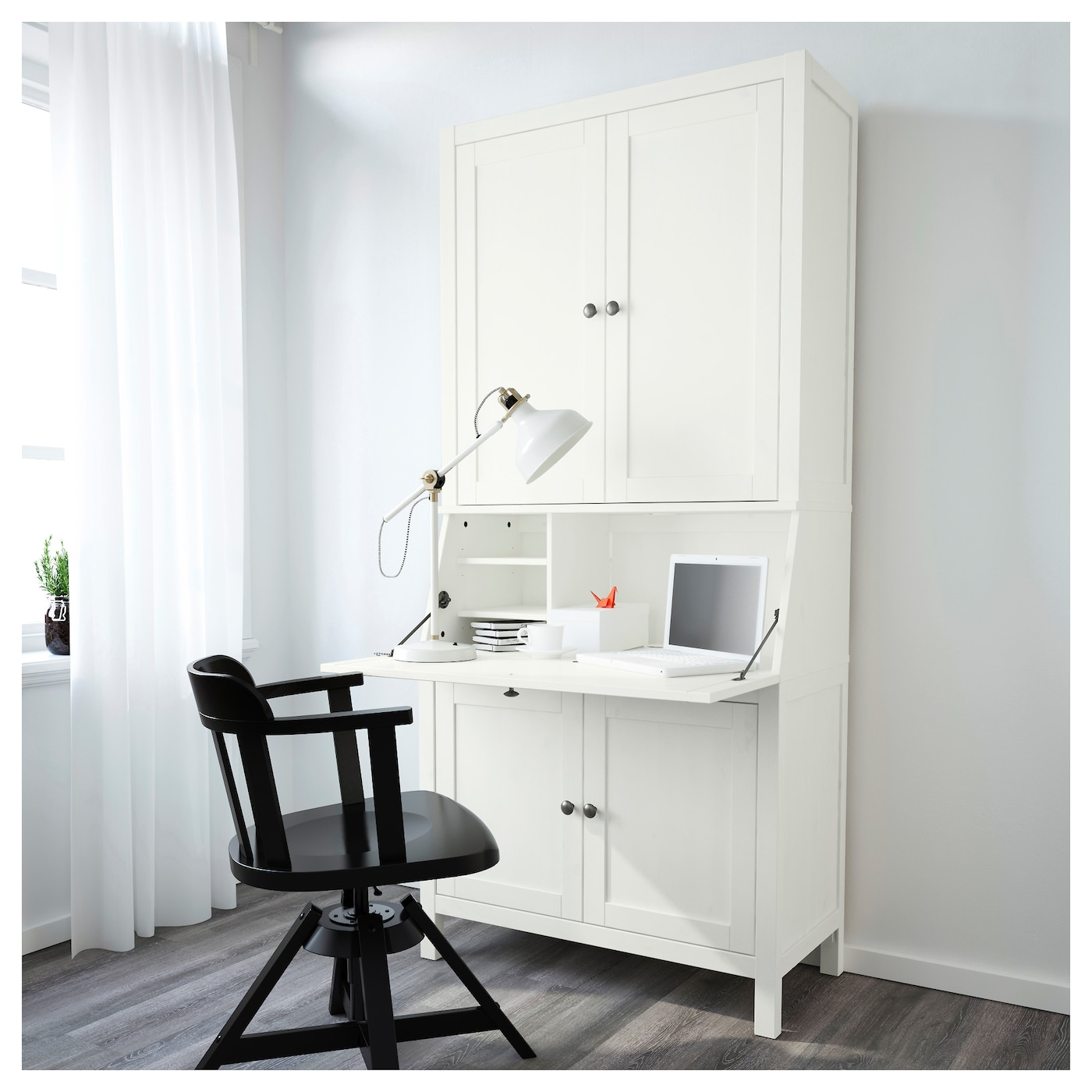 hemnes secretaire met opbouwdeel witgebeitst 89 x 198 cm ikea. Black Bedroom Furniture Sets. Home Design Ideas