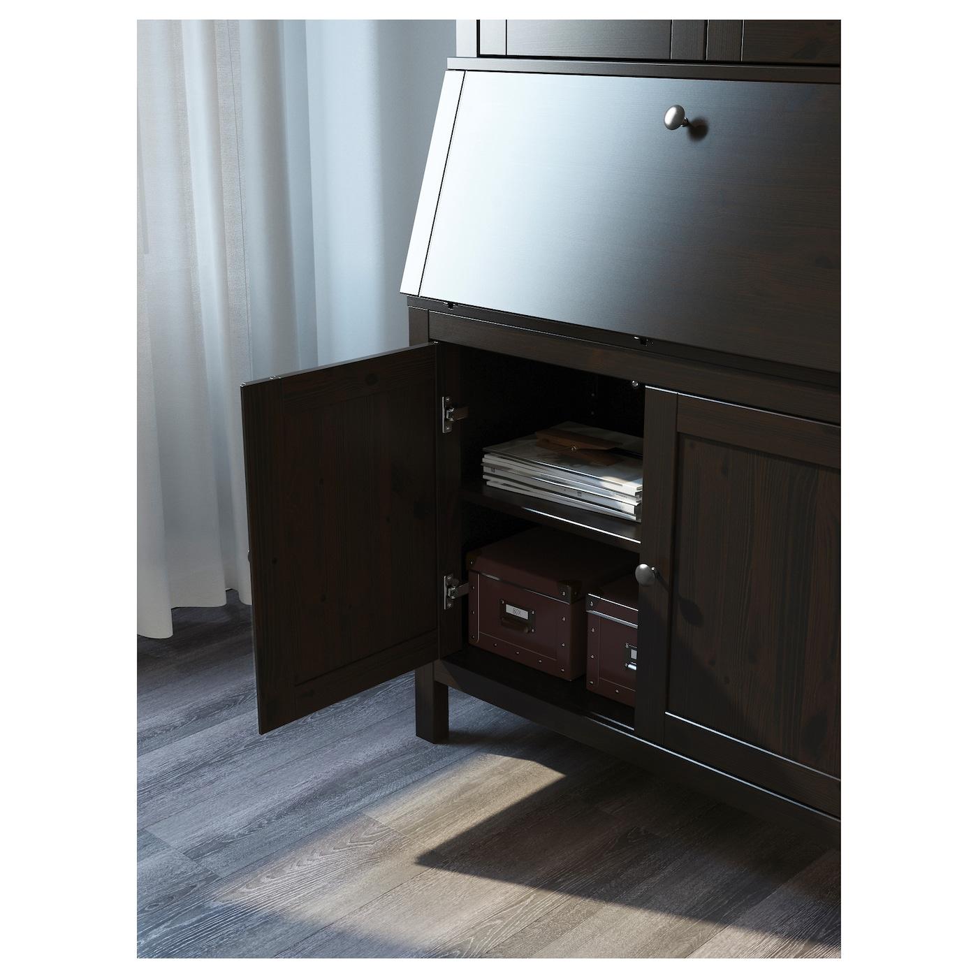 hemnes secretaire met opbouwdeel zwartbruin 89 x 198 cm ikea. Black Bedroom Furniture Sets. Home Design Ideas