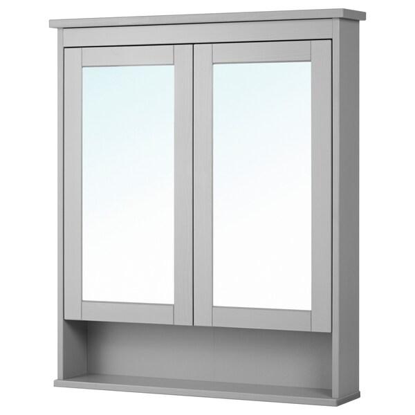 HEMNES Spiegelkast met 2 deuren, grijs, 83x16x98 cm