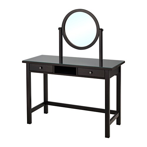 hemnes toilettafel met spiegel zwartbruin ikea. Black Bedroom Furniture Sets. Home Design Ideas