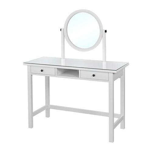 hemnes toilettafel met spiegel wit 110x45 cm ikea. Black Bedroom Furniture Sets. Home Design Ideas