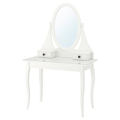 HEMNES Toilettafel met spiegel, wit, 100x50 cm