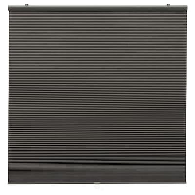 HOPPVALS Deels verduisterend plisségordijn, grijs, 100x155 cm