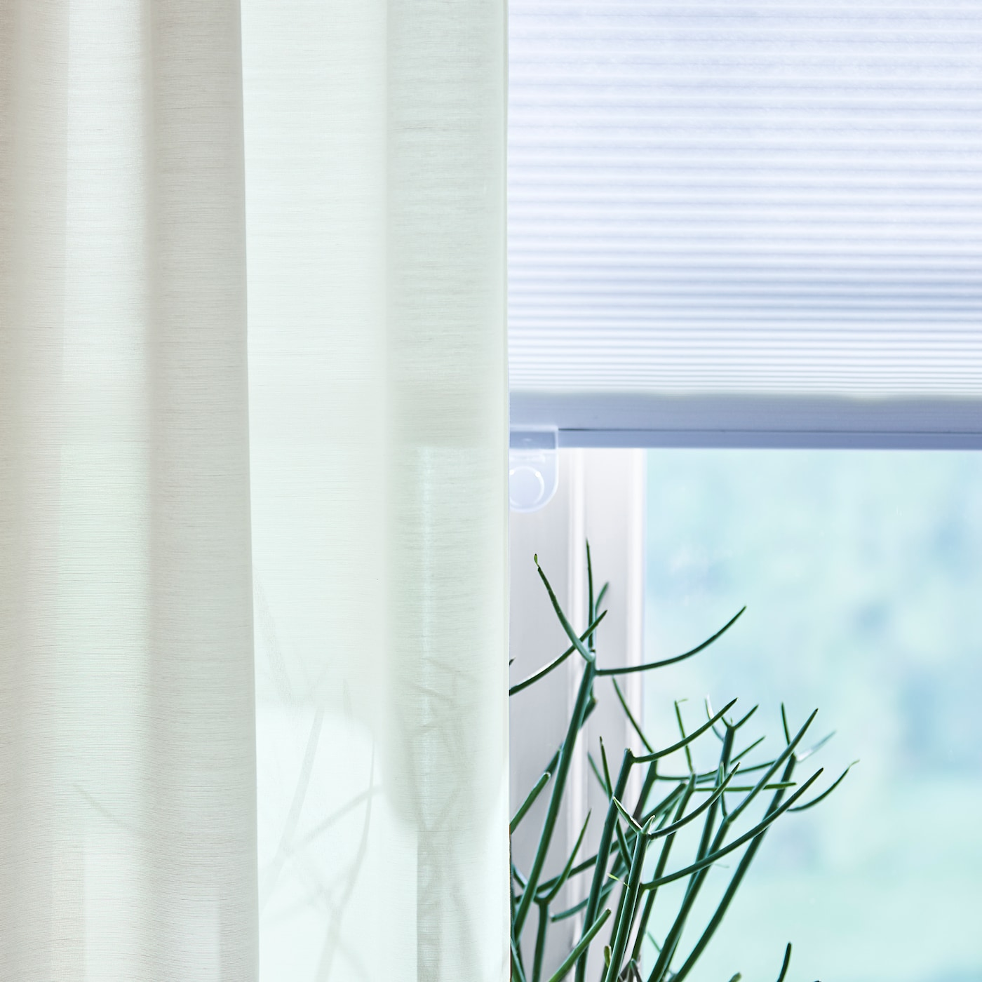 HOPPVALS Plisségordijn, dubbel, wit, 80x210 cm