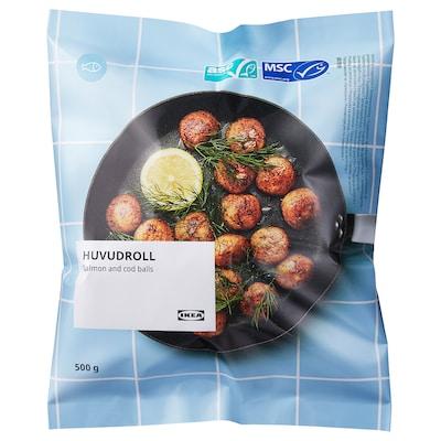 HUVUDROLL Zalm- en kabeljauwballetje, ASC-gecertificeerd/MSC-gecertificeerd diepvries, 500 g