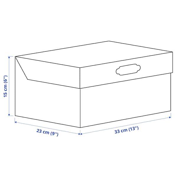 HYVENS Doos met deksel, grijsgroen wit/papier, 33x23x15 cm