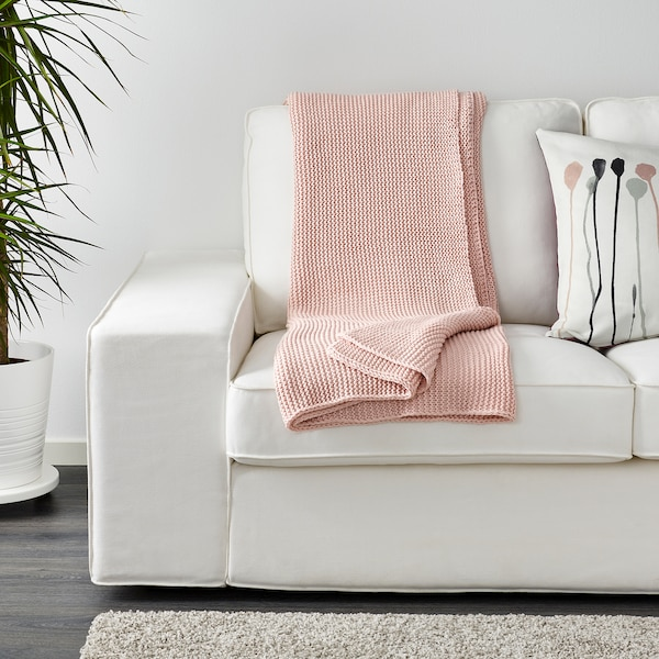 INGABRITTA Plaid, bleekroze, 130x170 cm