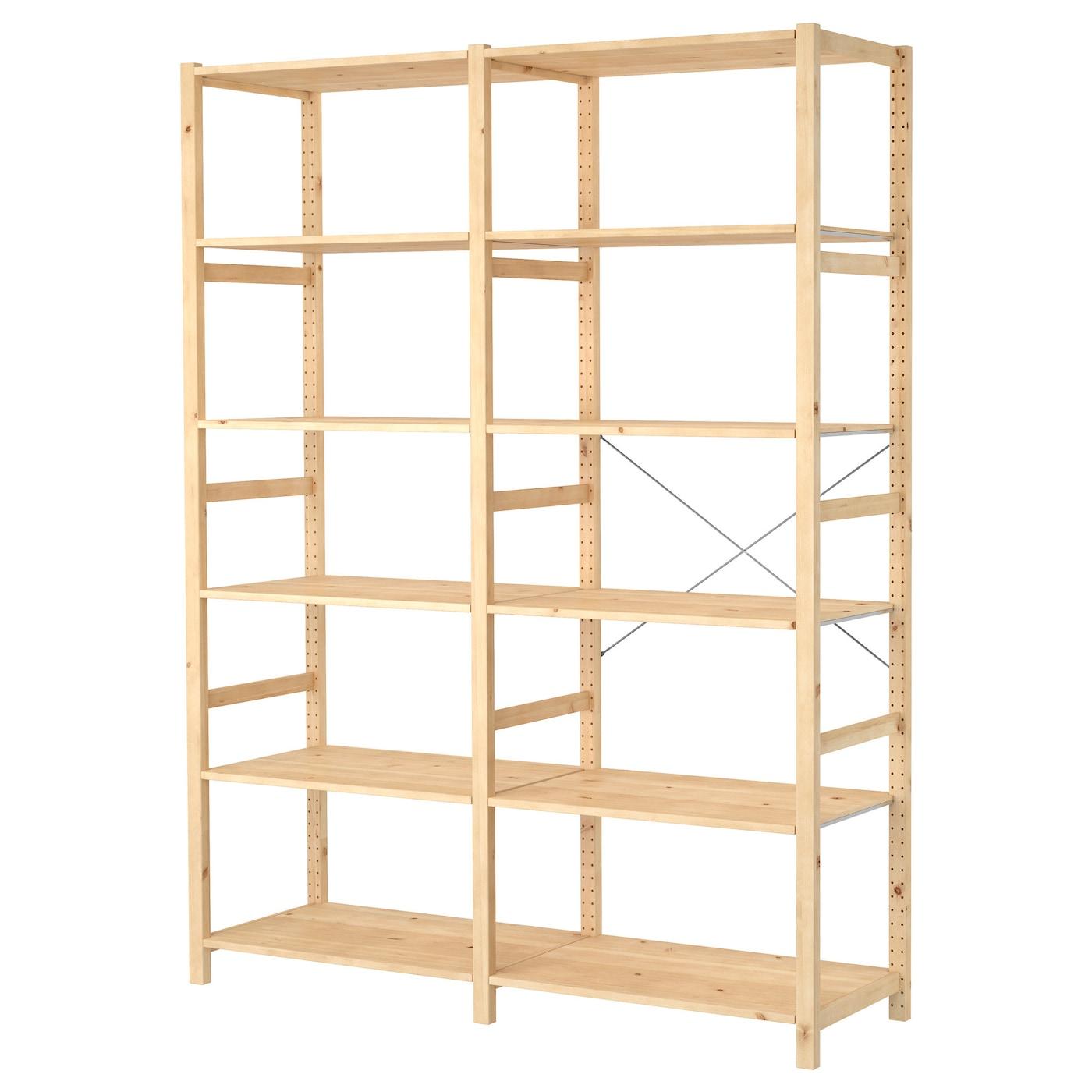 ivar 2 elementen planken grenen 174 x 50 x 226 cm ikea. Black Bedroom Furniture Sets. Home Design Ideas