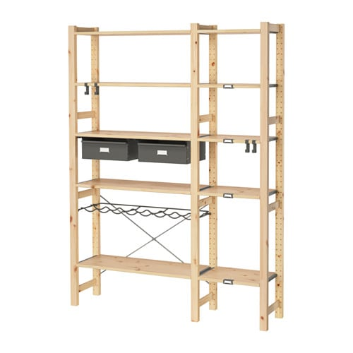 ivar 2 elementen planken lades grenen grijs 134x30x179 cm ikea. Black Bedroom Furniture Sets. Home Design Ideas