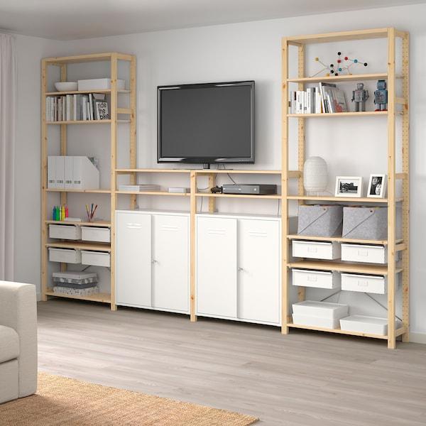 IVAR 4 elementen/planken/kast, grenen/wit, 344x30x226 cm
