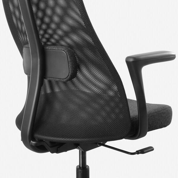 JÄRVFJÄLLET Bureaustoel met armleuningen, Gunnared donkergrijs/zwart
