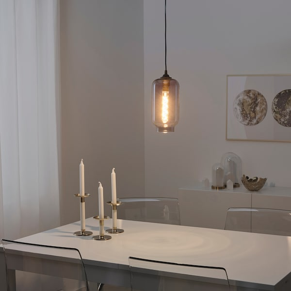KADMIUM / HEMMA Hanglamp, glas/zwart, 14 cm