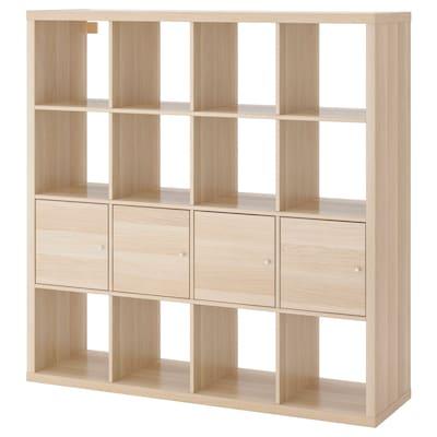 KALLAX Open kast met 4 inzetten, wit gelazuurd eikeneffect, 147x147 cm