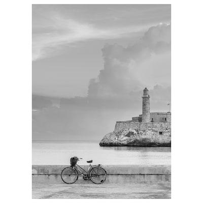 KATEBO Afbeelding zonder lijst, geparkeerde fiets, 50x70 cm