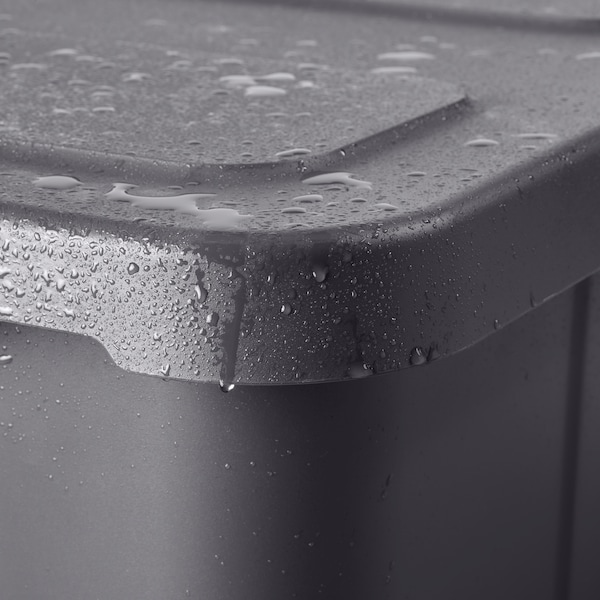 KLÄMTARE Bak met deksel, binnen/buiten, donkergrijs, 27x45x15 cm
