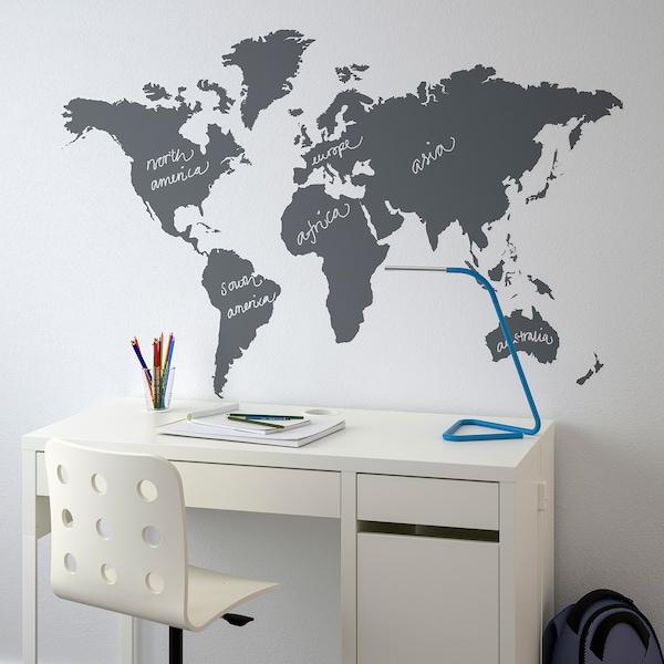 KLÄTTA Zelfklevende decoratie, krijtbord wereld, 60x103 cm