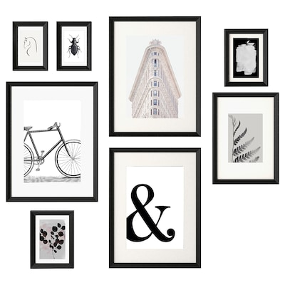 KNOPPÄNG Lijst met afbeelding, set van 8, Voorwerpen in zwart en wit