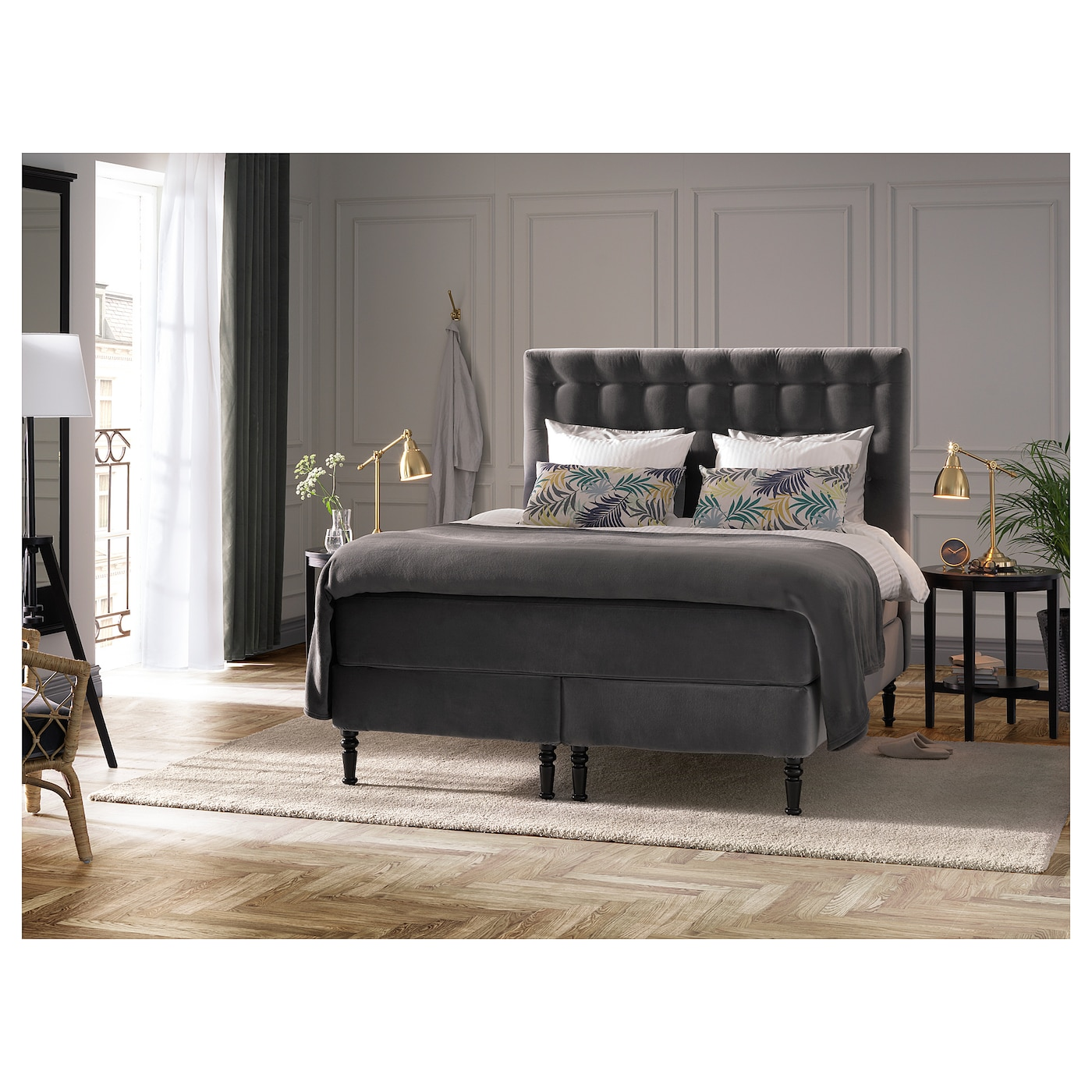 kongsfjord boxspring hyllestad middelhard tustna donkergrijs 160x200 cm ikea. Black Bedroom Furniture Sets. Home Design Ideas