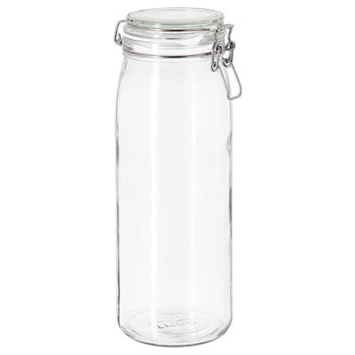 KORKEN Voorraadpot met deksel, helder glas, 2 l