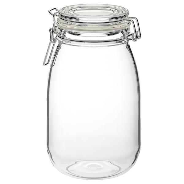 KORKEN Voorraadpot met deksel, helder glas, 1.8 l