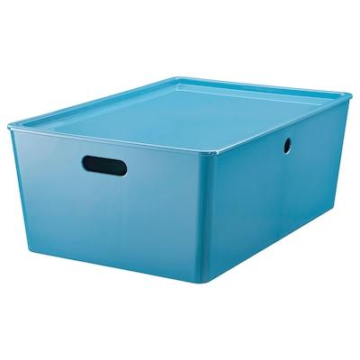 KUGGIS Opbergbak met deksel, blauw/kunststof, 37x54x21 cm