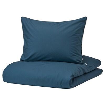 KUNGSBLOMMA Dekbedovertrek met 1 sloop, donkerblauw/wit, 150x200/50x60 cm