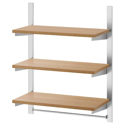 KUNGSFORS Ophangrail met planken en stang, roestvrij staal/essen