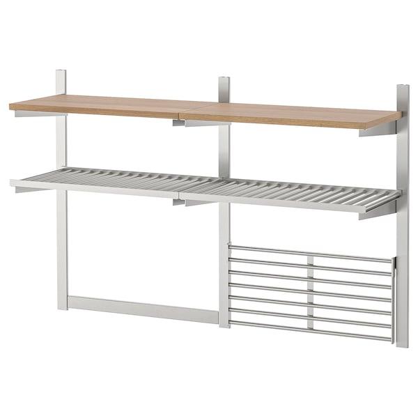 KUNGSFORS Ophangrail/plank/magnlijst/wandrek, roestvrij staal/essenfineer