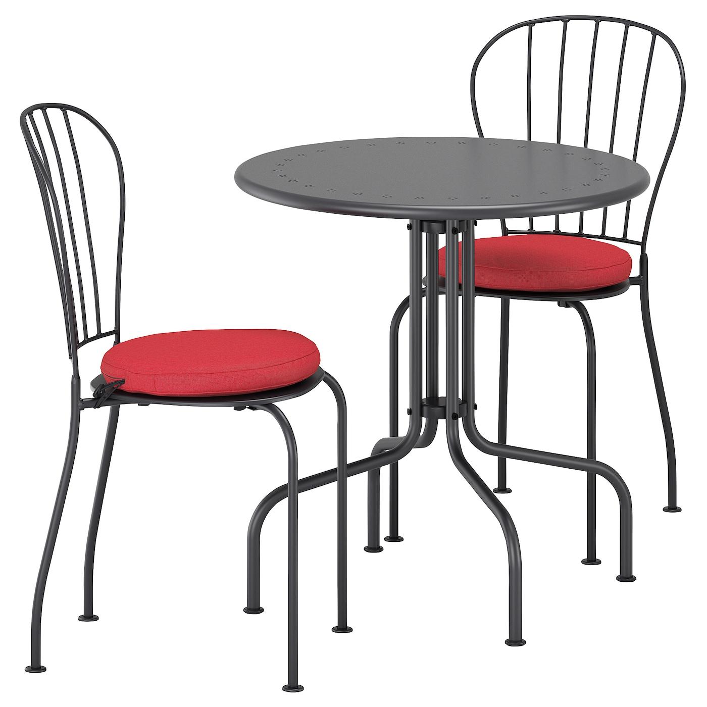 L ck tafel 2 stoelen buiten grijs fr s n duvholmen rood for Stoelen voor buiten