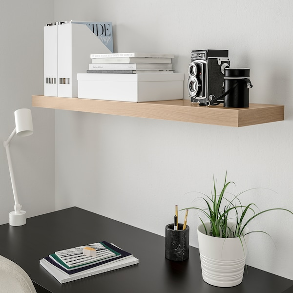 LACK Wandplank, wit gelazuurd eikeneffect, 110x26 cm