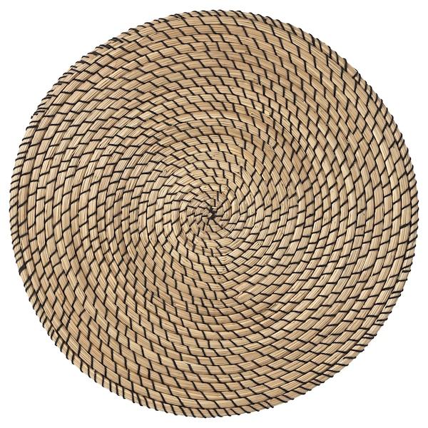 LÄTTAD Placemat, zeegras/zwart, 37 cm