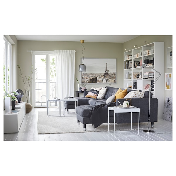LANDSKRONA 5-zitsbank, met chaise longues/Gunnared donkergrijs/metaal